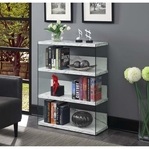 Porch & Den Urqhuart Glass/Wood 4 Tier Wide Bookcase