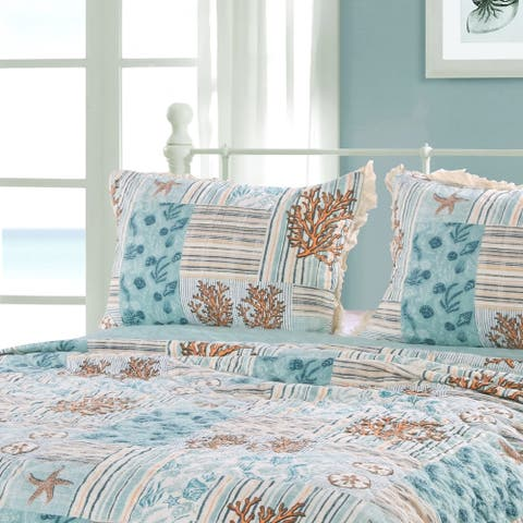 Greenland Home Fashions Key West Quilted Pillow Sham Set (Set of 2), Seafoam
