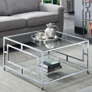 Silver Orchid Aasen Chrome Square Coffee Table