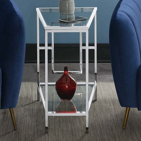 Silver Orchid Albertson Chrome Wedge End Table