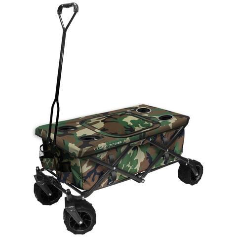 Creative Outdoor All-Terrain Folding Wagon w/Table TopCooler, Camo