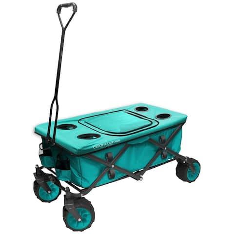 Creative Outdoor All-Terrain Folding Wagon w/Table TopCooler, Teal