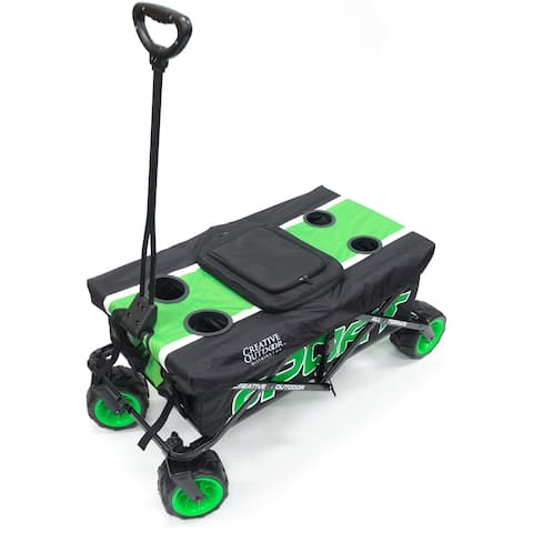 Creative Outdoor Sport All-Terrain Folding Wagon w/Table Top Cooler, Green
