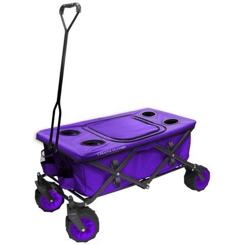 Creative Outdoor All-Terrain Folding Wagon w/Table TopCooler, Purple