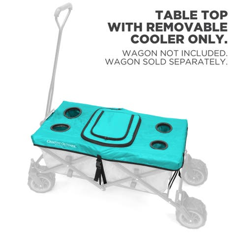 Creative Outdoor Folding Wagon Table Top Cooler Cover, Teal