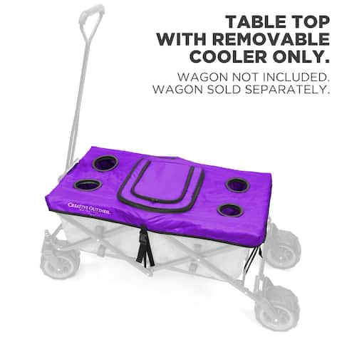 Creative Outdoor Table Top Cooler Cover for Folding Wagon, Purple