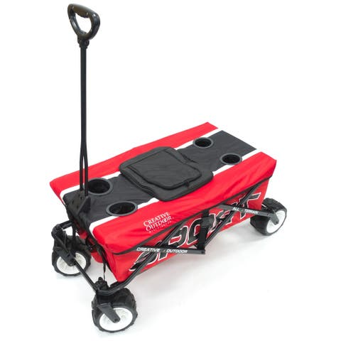 Creative Outdoor Sport All-Terrain Folding Wagon w/Table Top Cooler, Red