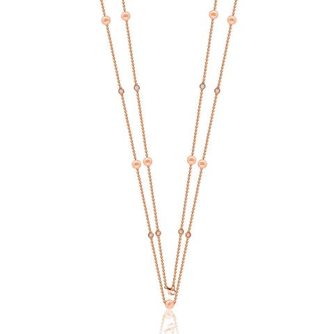 """Suzy Levian Rosed Sterling Silver White Sapphire and Pearl By-the-Yard 46"""" Station Necklace - Pink"""
