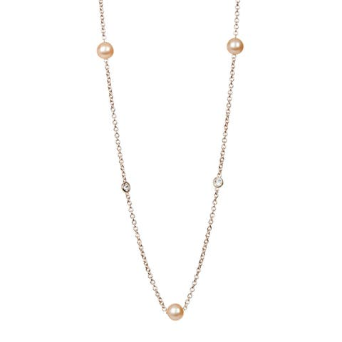 "Suzy Levian Rosed Sterling Silver White Sapphire and Pearl By-the-Yard 26"" Station Necklace - Pink"