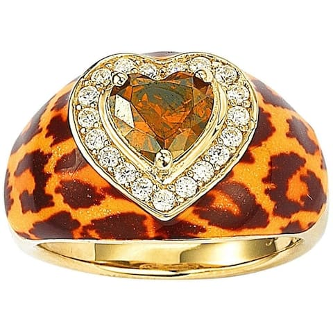 Suzy L. Gold over Silver Brown Cubic Zirconia Animal Print Ring