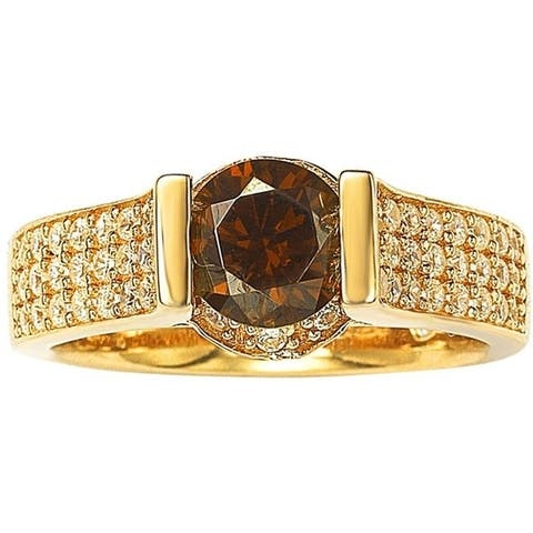 Suzy L. Bridal Golden Silver Brown and White Cubic Zirconia Ring