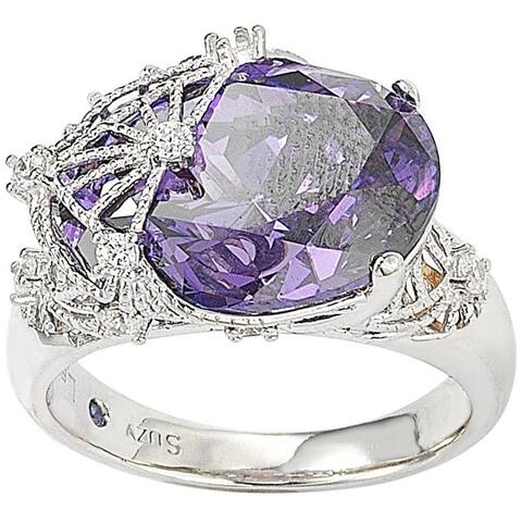 Suzy L. Sterling Silver Purple Cubic Zirconia Ring