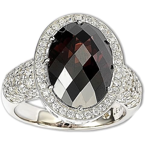 Suzy L. Sterling Silver Brown Cubic Zirconia Checkered Cut Ring