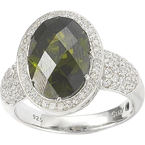 Suzy L. Sterling Silver Peridot Colored Cubic Zirconia Bridal Ring