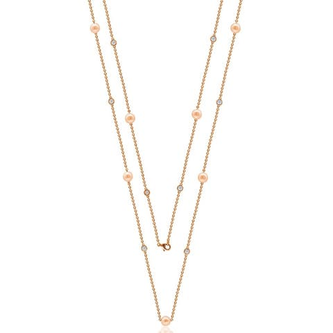 """Suzy Levian Rosed Sterling Silver White Sapphire and Pearl By-the-Yard 36"""" Station Necklace - Pink"""