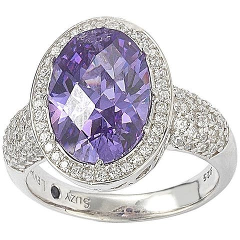 Suzy L. Sterling Silver Purple Cubic Zirconia Checkered Cut Ring