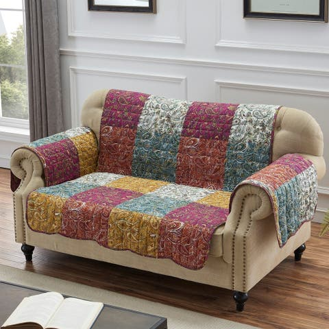 Porch & Den Merritt Spice Color Paisley Loveseat Protector