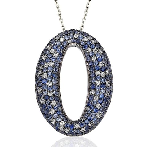 Suzy Levian Sterling Silver Sapphire Diamond Accent Micro Pave Oval Necklace