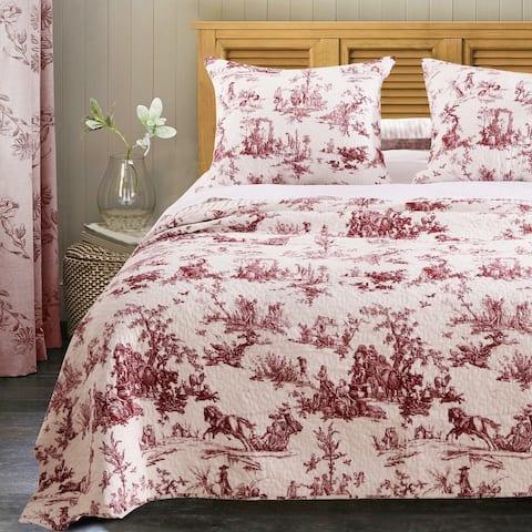 Greenland Home Fashions Classic Toile Cotton Bedspread Set