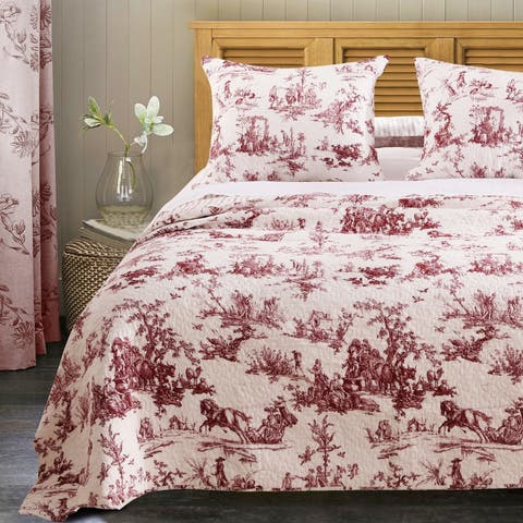 Greenland Home Fashions Classic Toile Cotton Bedspread Set