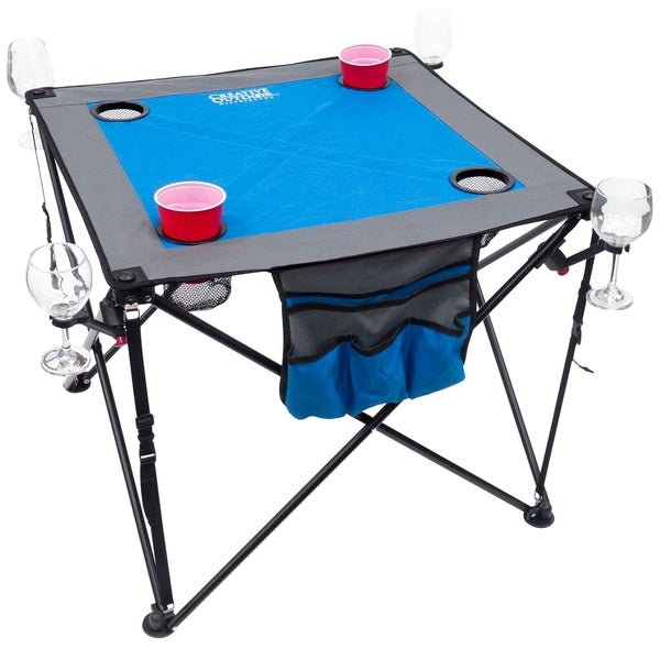 Creative Outdoor Folding Wine Table, Blue/Gray