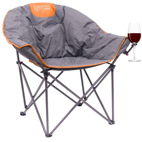 Creative Outdoor Folding Bucket Wine Chair, Gray/Orange