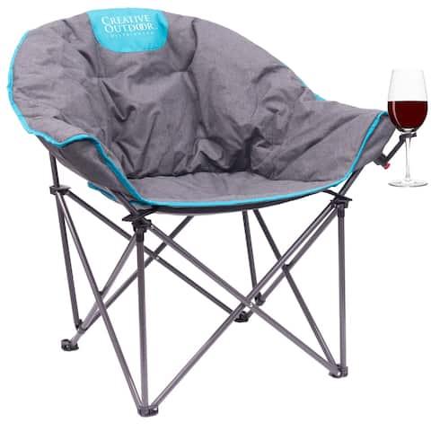 Creative Outdoor Folding Bucket Wine Chair, Gray/Teal