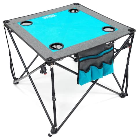 Creative Outdoor Folding Wine Table, Teal/Gray