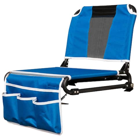 Creative Outdoor 2 in 1 Bleacher Folding Chair, Blue/Black