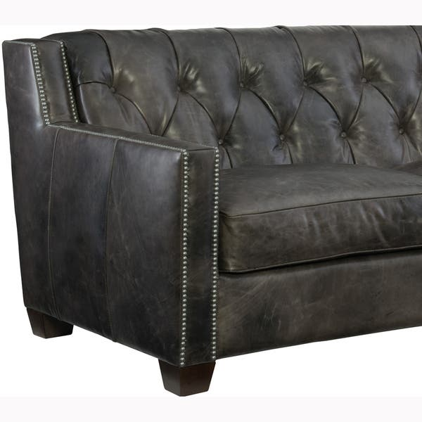 Shop Levinson Tufted Grey Top Grain Leather Chesterfield ...