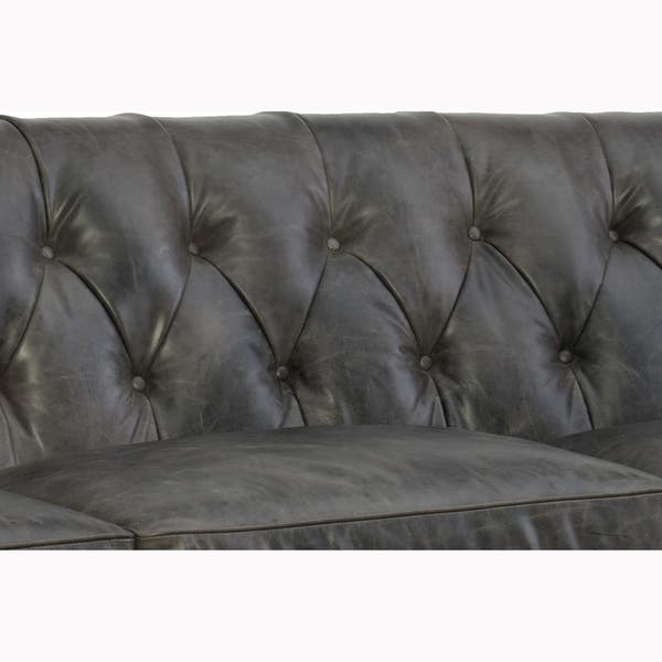 Shop Levinson Tufted Grey Top Grain Leather Chesterfield Sofa and ...