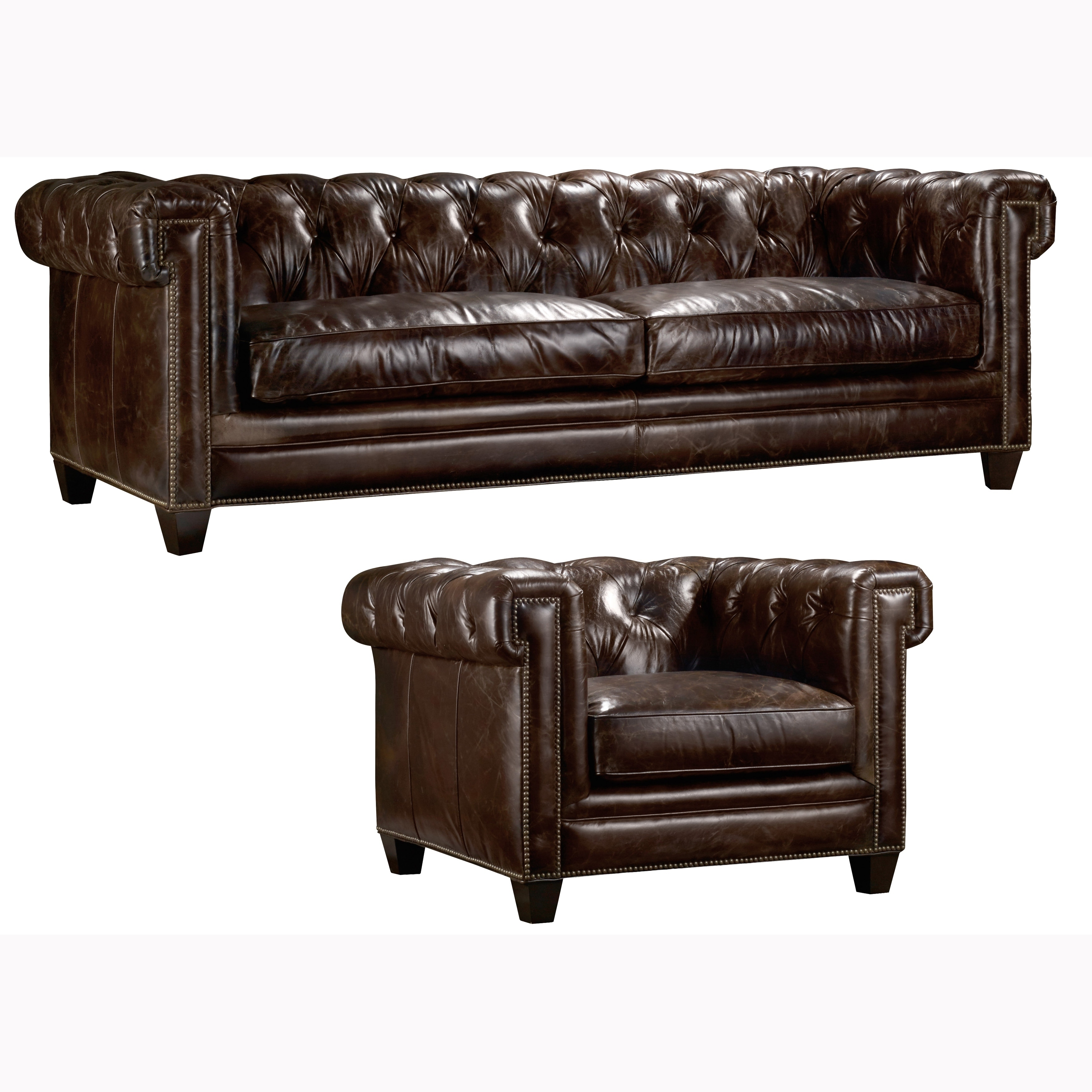 - Shop Orlando Tufted Brown Top Grain Leather Chesterfield Sofa And