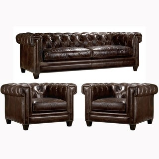 Orlando Tufted Brown Top Grain Leather Chesterfield Sofa and Two Chairs