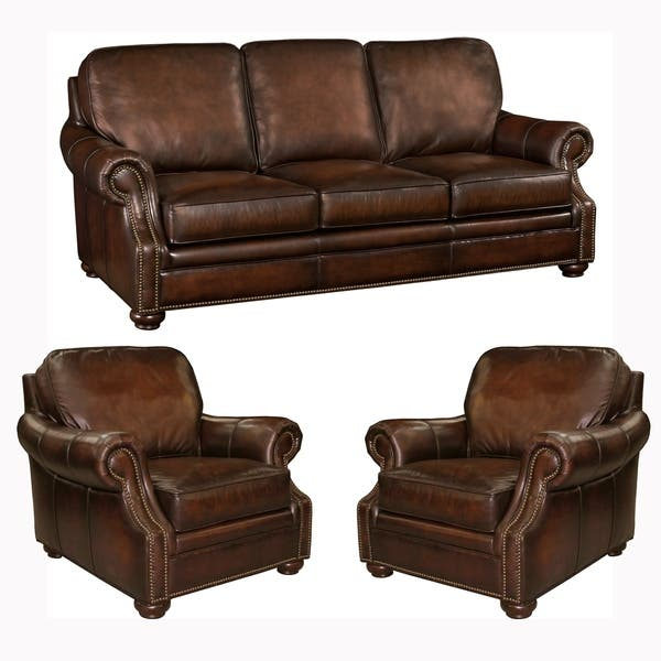 Miraculous Shop Foster Brown Hand Rubbed Top Grain Leather Sofa And Two Bralicious Painted Fabric Chair Ideas Braliciousco