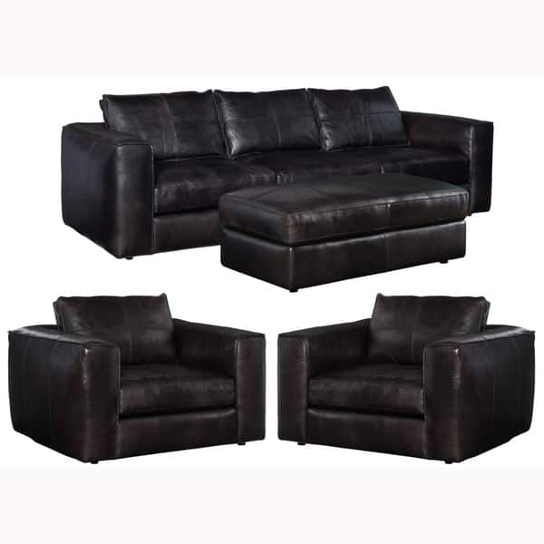 Astounding Shop Latitude Distressed Black Leather Sofa Two Chairs And Squirreltailoven Fun Painted Chair Ideas Images Squirreltailovenorg