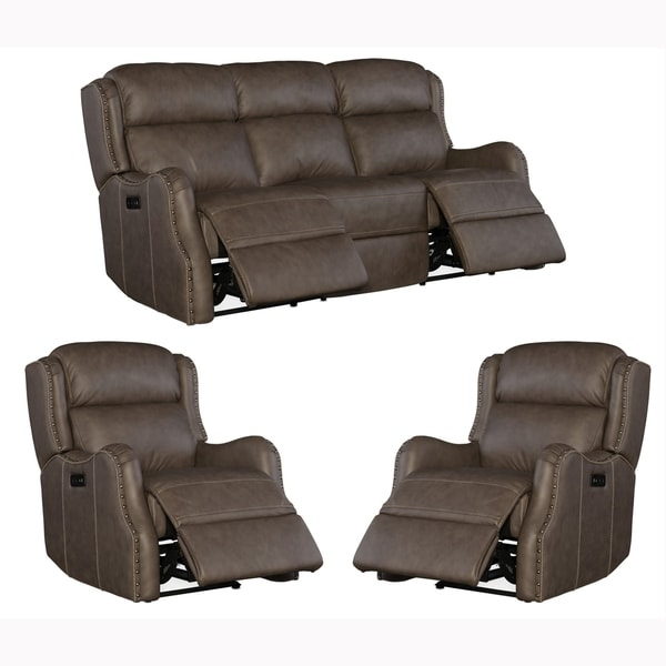 Analise Brown Top Grain Leather Power Reclining Sofa and Two Chairs