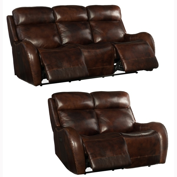 Soren Brown Top Grain Leather Power Reclining Sofa and Loveseat