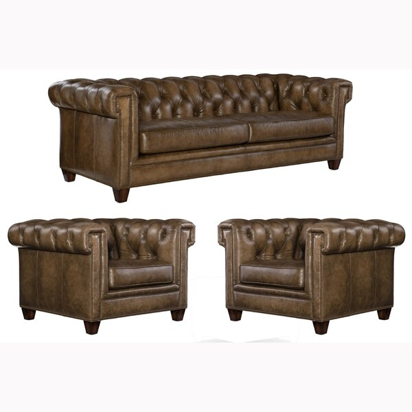 Lesa Tufted Brown Top Grain Leather Chesterfield Sofa and Two Chairs