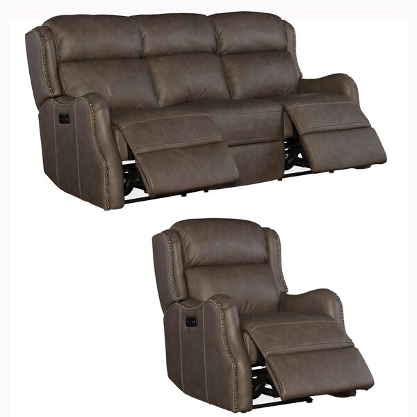 Analise Brown Top Grain Leather Power Reclining Sofa and Chair