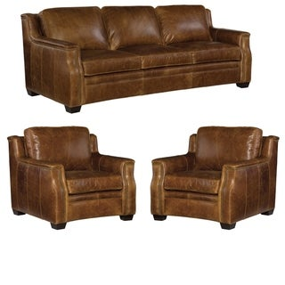 Solly Distressed Brown Top Grain Leather Sofa and Two Chairs