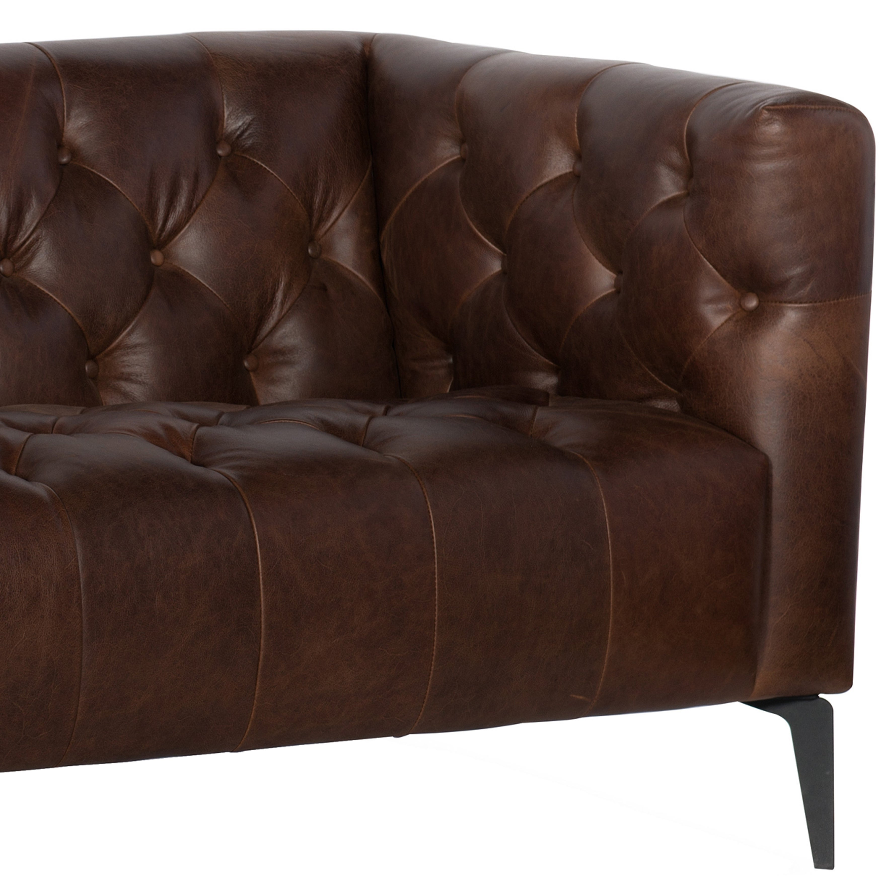 Wildon Distressed Brown Tufted Leather Chesterfield Sofa And Two Chairs