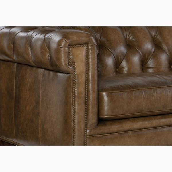 Shop Lesa Tufted Brown Top Grain Leather Chesterfield Sofa