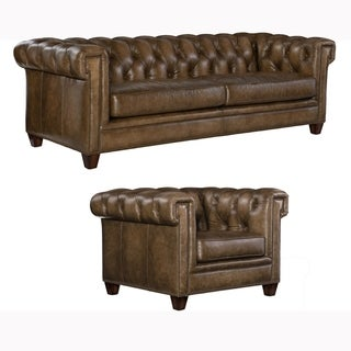 Lesa Tufted Brown Top Grain Leather Chesterfield Sofa and Chair