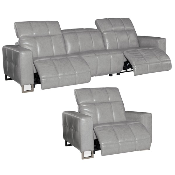Bombay Grey Top Grain Leather Power Reclining Sofa and Chair