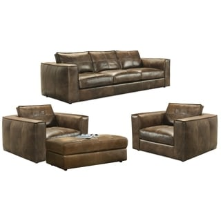 Orren Distressed Brown Leather Sofa, Two Chairs and Storage Ottoman