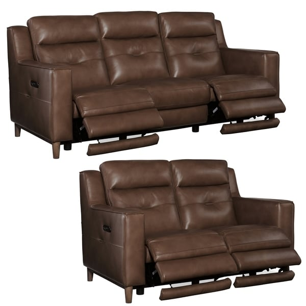 Astoria Brown Top Grain Leather Power Reclining Sofa and Loveseat