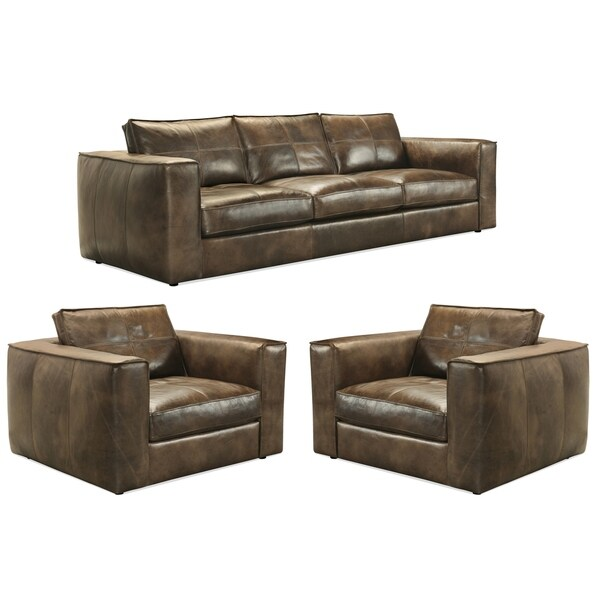 Orren Distressed Brown Top Grain Leather Sofa and Two Chairs