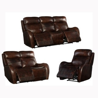 Soren Brown Top Grain Leather Power Reclining Sofa, Loveseat and Chair