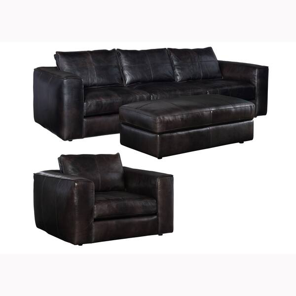 Shop Latitude Distressed Black Leather Sofa, Chair and ...