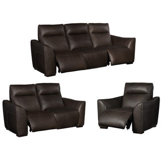 Union Charcoal/Black Leather Power Reclining Sofa, Loveseat and Chair